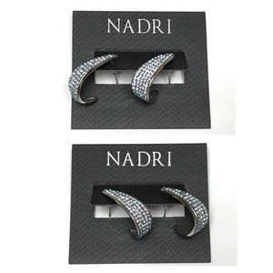 NWT NADRI Silver Tone With  Pave Crystals Earrings